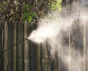 misting coming from a fence