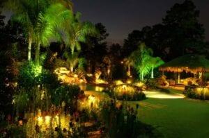 huge backyard lagoon with outdoor lighting