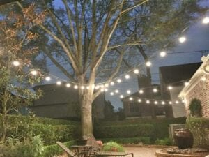 string lights on a back patio