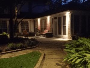backyard patio with lighting