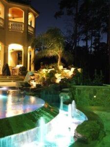 lighting around a pool