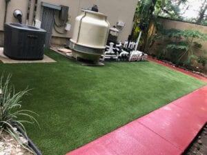 brand new turf around pool equipment