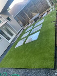 turf with beautiful stepping tiles