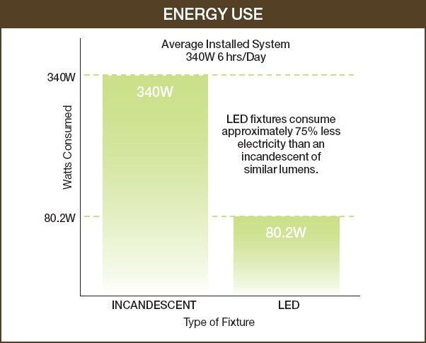 LEDs more energy efficient than incandescent.