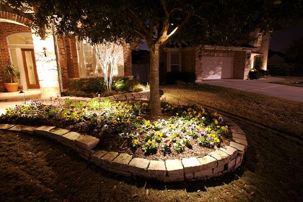 Beautiful outdoor lighting in a garden