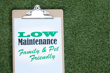 clip board on synthetic turf with graphic saying low maintenance family & pet friendly